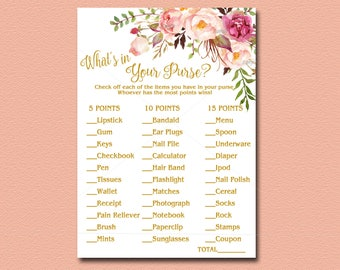 What's in Your Purse Floral Baby Shower game, Printable, Peach, pink, gold Boho Baby Shower Activity Bohemian DIY Instant Download 029