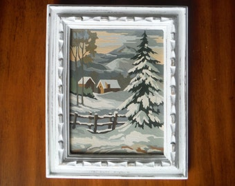 Vintage Winter Scene Paint By Number Painting - Winter Mountain Landscape Woods Paint By Number - Shabby Chic Cabin Snow Winter Painting
