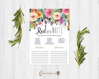 Floral Wine Bridal Shower Game White or Red Wine Wedding Shower Bachelorette Party Printable Digital Instant Download Games Spring Flower