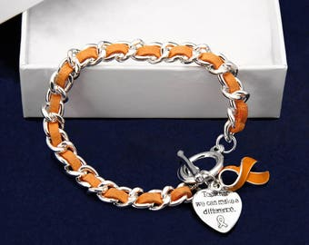 12 Leather Rope Orange Ribbon Bracelets in Gift Boxes (12 Bracelets) (B-04-5)