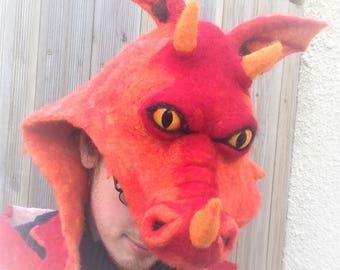 Felt dragon hat - needle felted dragon head hood - dragon face hat - fantasy fancy dress - festival costume - adult hat
