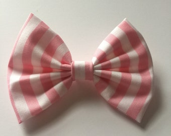 Pink and white stripe bow