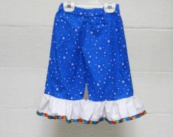 Blue white-starred ruffly pants
