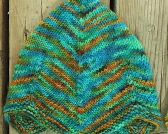 Hand Knit Pilot Cap Style Baby Hat, 12-24 months