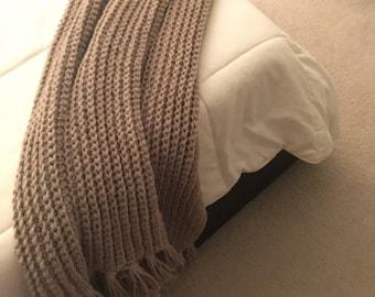 Cafe au Lait Beige Lightweight Crocheted Throw Blanket With Fringe