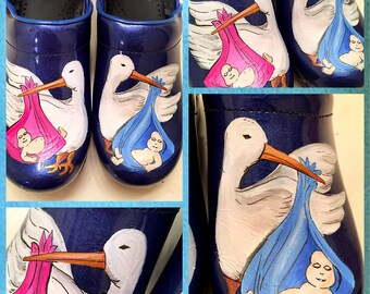 Custom painted OBGYN/Baby and Stork Sanita Clogs. Designed and personalized just for you!