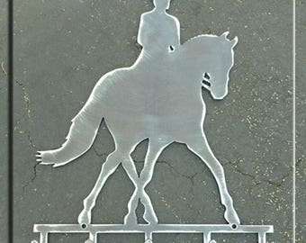 Dressage Horse in Half Pass Metal Art with Hooks