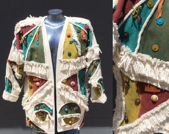 Avant Garde Over Sized One Size 80s 90s hand painted beaded fringed jacket Amazing Bohemian Southwest Medium One of a Kind