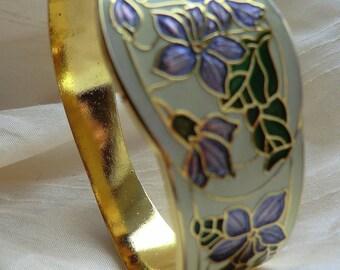 Signed Fish and Crown Cloisonne Bangle. Vintage Enamel Bracelet, Violet, Lilac, Purple Flowers. 1980s Clamper Bracelet. Jewellery Jewelry
