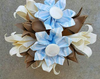 Blue and Tan Origami Flower Arrangement - Flower Arrangement - Origami Flowers - Paper Flowers - Table Centerpiece - Mothers Day - Birthday