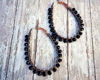 Vintage copper hoops with black vintage czech glass earrings-wire wrapped hoop earrings-antique copper hoop earrings-black czech hoops