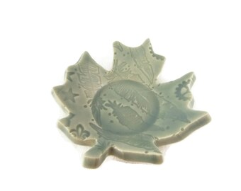 Maple Leaf Shaped Dish - spoon rest - incense holder - foggy blue grey dish - leaf pattern