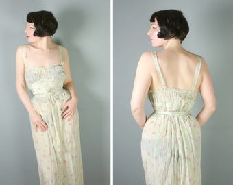 40s night dress / slip dress in MINT green with small DITSY pink floral print - long 1940s WWII / warera nightie - M