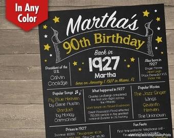 90th Birthday Chalkboard, 90th Birthday Poster, 90th Birthday Centerpiece, 90th Birthday Gift, Printable Sign for DIY printing