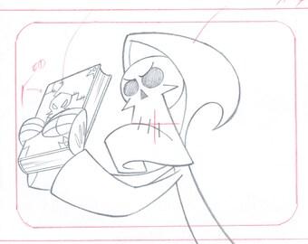 The Grim & Evil Show Bill Mandy Cel layout Drawing Cartoon Network COA Seal 2*