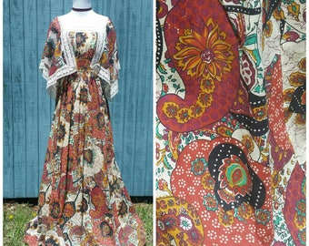 Bohemian maxi dress, 70s dress with flutter sleeves lace trim, paisley floor length festival hippie sundress