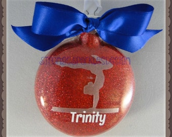 Personalized glass gymnastics girl Christmas ornament - Custom colors and name