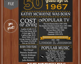 ON SALE - 50th Birthday Chalkboard - 50th Birthday Poster - Adult Birthday Signs - 50th Birthday Decor - Fun Facts - 1967 - Born in 67 - 50