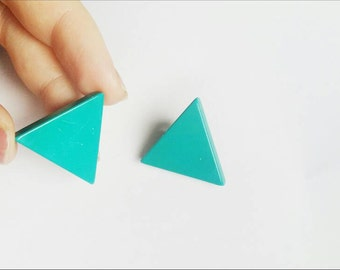 Vintage blue turquoise triangle clip on earrings