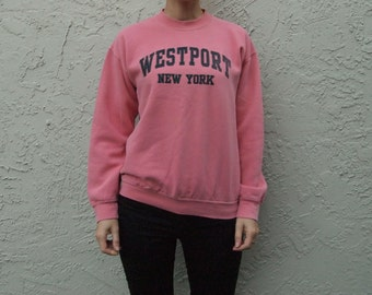 Awesome Vintage Sweater in Salmon Pink with Westport New York Print