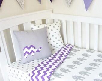 Grey and purple chevron, elephant nursery set items