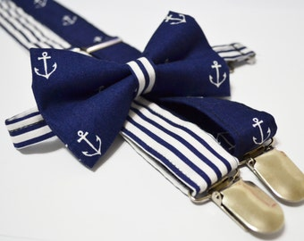 Anchor and navy stripe bow tie and Suspender Set for baby/toddler/teen/adult/Men