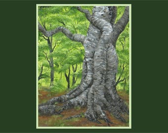 "Original 12x16"" Oil Painting - Green Forest Gnarled Tree Wall Art"