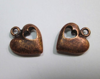 2 Copper-Plated (?) Heart Charms
