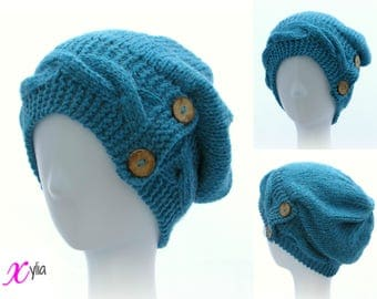 Turquoise Knitted Hat Button Band Hat Cable Band Slouchy Hat Adult Size Hand Knitted Hat Chunky Knit Hat Alpaca Wool Acrylic