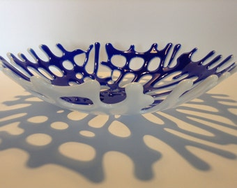 FREE SHIPPING - Cobalt Blue Fused Glass Coral Bowl