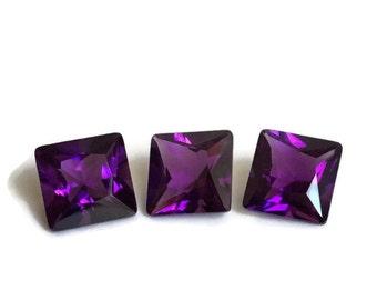 Set Of 3 Natural Purple Amethyst Stones, Set Of 3 Loose Amethyst Stones, Princess Cut Loose Natural Amethyst Stones, February Birthstones