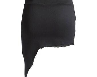 Asymetrical short skirt, Black skirt, pixie skirt, festival wear, yoga skirt, Black mini skirt, festival skirt, stretch skirt, punk, gothic