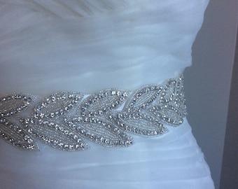 SALE Wedding Sash Belt, Bridal Sash Belt - Crystal Sash Belt beading all the way around