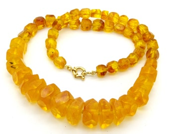 Unique XXL Natural Baltic Amber Necklace 91 Grams - Hand Cut Faceted Amber Beads - 1970s Statement Amber Necklace - Vintage Jewellery
