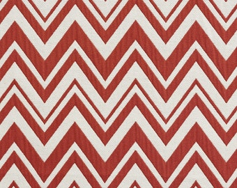Red And White Zig Zag Chevron Contemporary Upholstery Fabric By The Yard | Pattern # B0010D