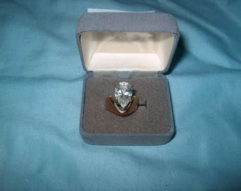 Vintage Costume Jewelry, Rhinestone Ring, 18K GE, Size 7, WAS 28.00 - 25% = 21.00