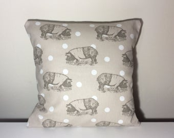 Beige Pillow Cover 16 x 16 Beige Cushion Cover Throw PIllow Toss Pillow Cover - Pigs