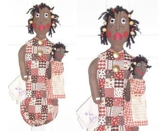 """Mother's Day Bag Holder Doll Primitive Folk Art Bag Holder Doll  """"Once Upon A Memory"""" Mother's Day Bag Holder Dolls Kitchen Home Wall Decor"""