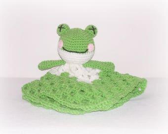 Green Frog Blanket Lovey Green White Crochet Frog Security Blanket Little Baby Child's Stuffed Frog Security Blanket Frog Baby Child Gift