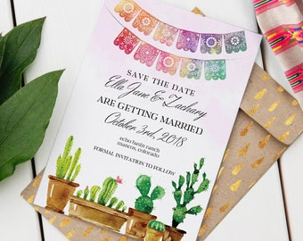 Editable Save-the-Date | Fiesta Wedding | Instant Download PDF | Custom Printable Save-the-Date | Cactus Design | Destination Wedding