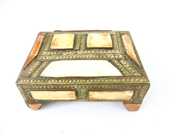 Brass and Bone Inlay Stash Box, Jewelry Box, Brass Storage, India, Bohemian Decor Home