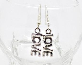 Silver Love Earrings, Love Word Jewellery, Love Danglers, Boho Earrings, Romantic Jewellery, Valentines Jewellery, Sentiment, Gift for Her,