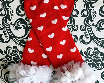 VALENTINES LEG WARMERS~Ready to Ship, baby leg warmers, red and white leg warmers, girls leg warmers, red chiffon ruffle.