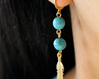 Turquoise Gold Earrings - Gold Feather Drop Earrings - Blue Turquoise Earrings - Boho Gold Earrings