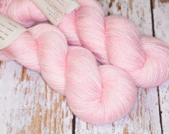 Hand Dyed DK Superwash Merino Wool Yarn in Light Pink Monochrome