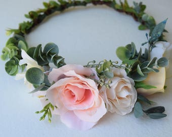 Eucalyptus & Boxwood Rose Flower Crown - Bridal Circlet - Peach and Blush Bridal Halo - Photo Prop - Roses and Greenery - Flower Girl Crown