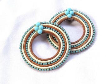 Vintage Roxanne Assoulin Large Clip On Glass Turqouise beads Leather + Wood Rims on Metal backings Clip Earrings
