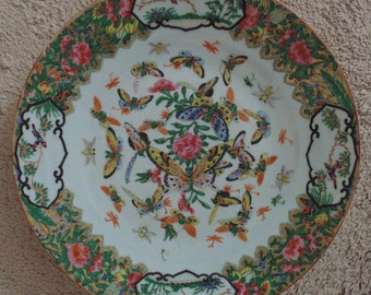 Antique 19c Chinese Rose Medallion Butterfly Plate Butterflies Dragonfly Birds
