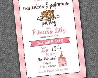 Pancakes + Pajamas Princess Party Invitation