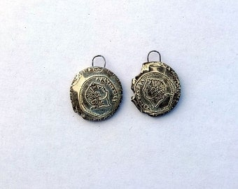 Greek Coin  - Withered Rough Artifacts -  Earring Pair Ceramic